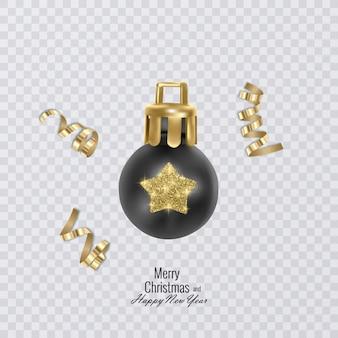 透明な背景のクリスマスの装飾にカラフルなクリスマスボール Premiumベクター