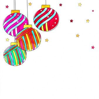 Красочные рождественские шары и звезды на белом фоне