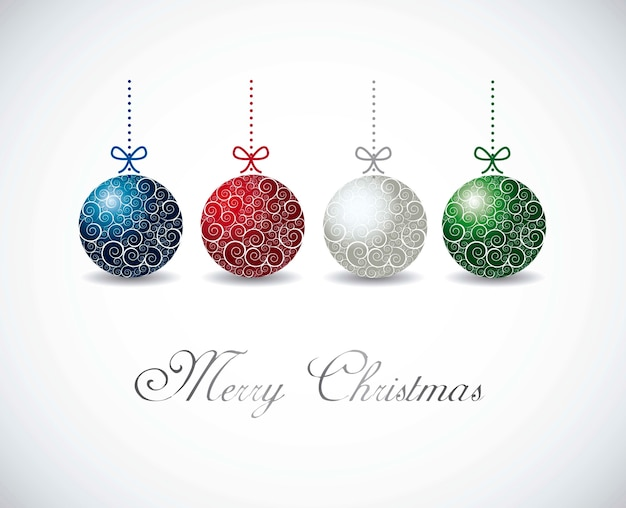 Colorful christmas balls over gray background vector illustration