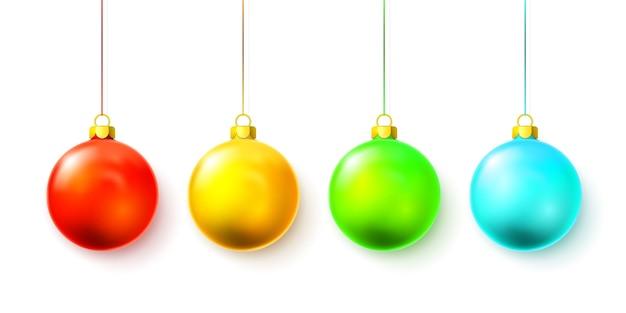 白で隔離のカラフルなクリスマスボール