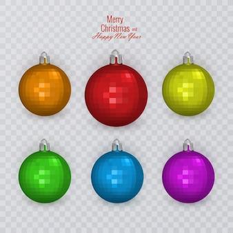 透明な背景のクリスマスの装飾にカラフルなクリスマスボール