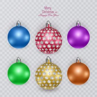 透明な背景にカラフルなクリスマスボール、ベクトルのクリスマスの装飾