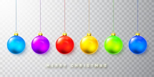 透明な背景にカラフルなクリスマスボール