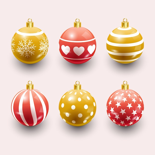 Colorful christmas balls. set of isolated realistic decorations.