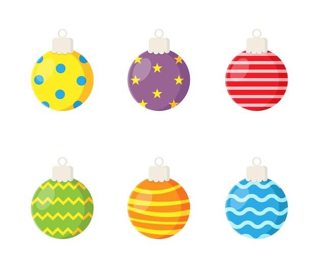 Colorful christmas balls set isolated on white background