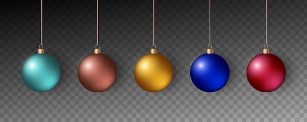 Красочные рождественские шары. набор реалистичных украшений.