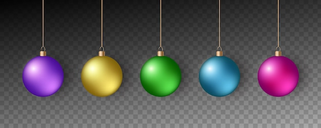 Colorful christmas balls. set of realistic decorations.