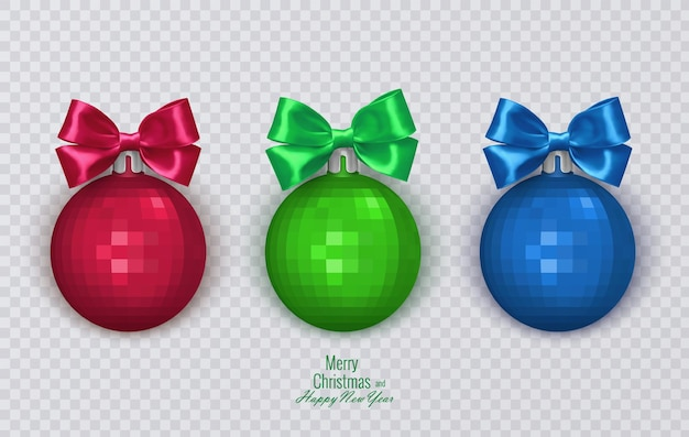 Colorful christmas balls with realistic bow on transparent background christmas decorations