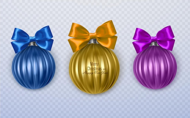 Colorful christmas balls with realistic bow on transparent background
