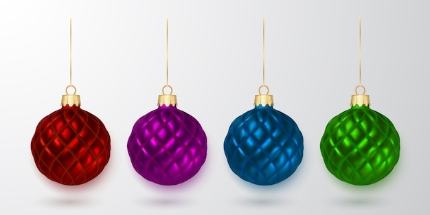 Colorful christmas balls. xmas glass ball on white background. holiday decoration template.