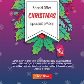 Colorful christmas banner for advertising or shopping sale