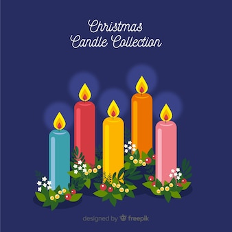 Colorful christmas candle collection