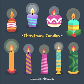 Colorful christmas candles collection
