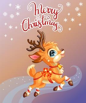 Красочная рождественская открытка с милым оленем и надписью