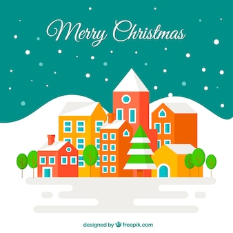 Colorful christmas city background in flat design