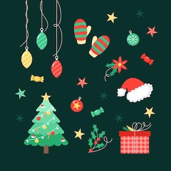 Красочные рождественские украшения в плоском дизайне