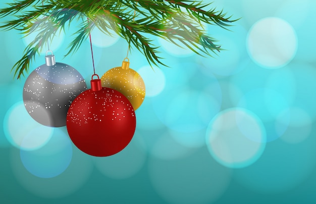 Colorful christmas decorations ball with branch with blur background
