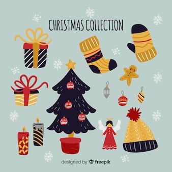 Красочная коллекция рождественских элементов с плоским дизайном