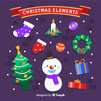 Colorful christmas element collection with flat design