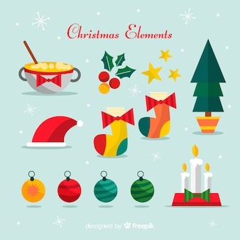 Colorful christmas elements pack