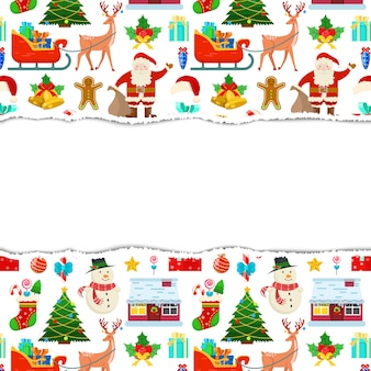 Colorful christmas frame with white background