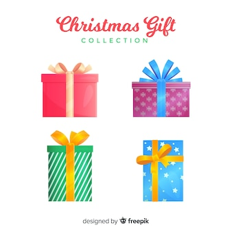 Colorful christmas gift boxes collection