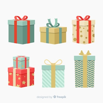 Colorful christmas gift collection with flat design