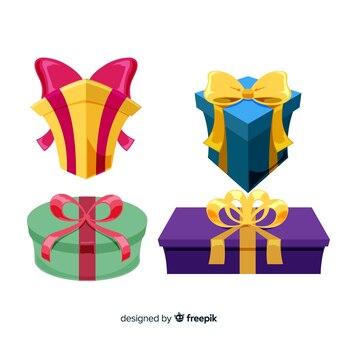 フラットデザインのカラフルなクリスマスギフトコレクション
