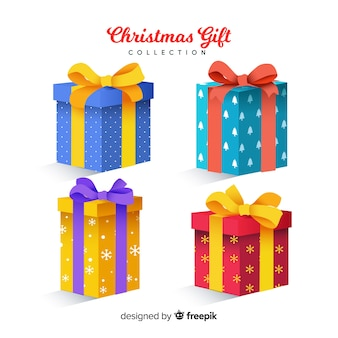 Colorful christmas gift collection with realistic design