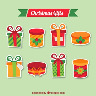 Colorful christmas gifts with decorative elements