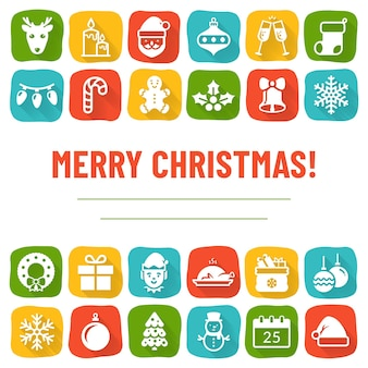 Colorful christmas greeting banner with holiday icons and place for text
