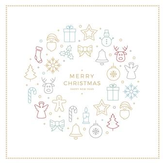 Красочные рождественские иконки элементы границы круга белый фон