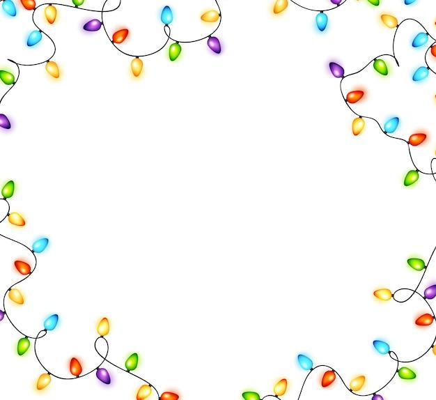 Красочная новогодняя рамка из лампочек
