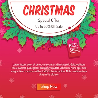 Colorful christmas online banner with big sale or shopping sale