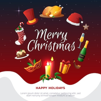 Colorful christmas party card
