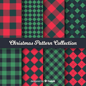 Colorful christmas pattern collection with geometric design