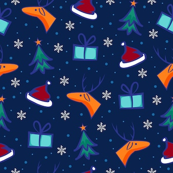 Colorful christmas pattern with funny characters