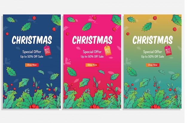 Colorful christmas poster for shopping sale or discount with cute winter leaves for