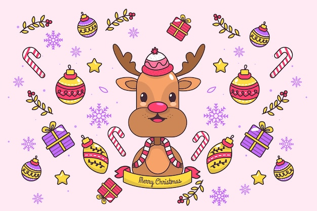 Colorful christmas reindeer background