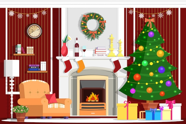 Colorful christmas room interior design with fireplace, christmas tree, gifts, decoration and modern furniture. flat style illustration