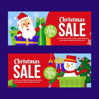 Colorful christmas sale banners in flat design