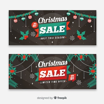Colorful christmas sale banners with flat design