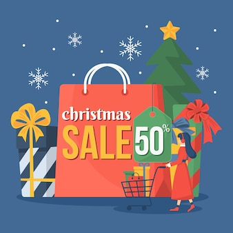 Colorful christmas sale in flat design
