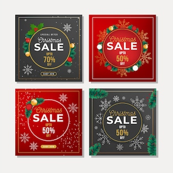 Colorful christmas sale instagram post collection