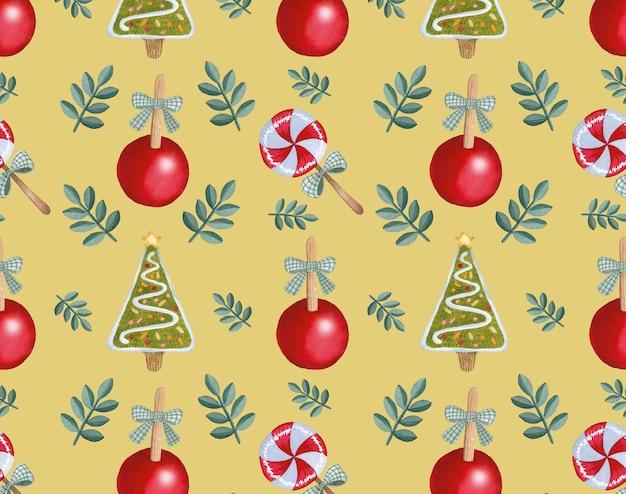 黄色の背景にカラフルなクリスマスのシームレスなパターンの水彩画