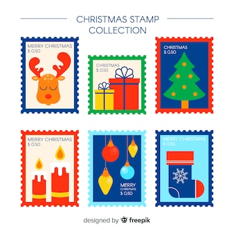 Colorful christmas stamp collection