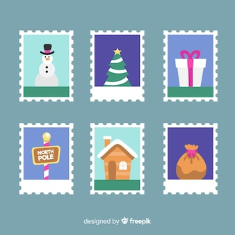 Colorful christmas stamp pack