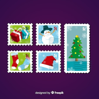 Colorful christmas stamps collection