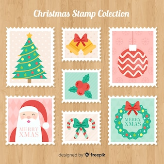 Colorful christmas stamps colllection