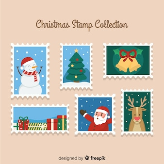 Colorful christmas stamps pack